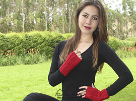 Alpaca Cable Fingerless Gloves